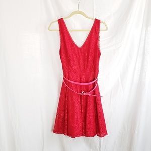 Express Red Lacey dress with belt size 10